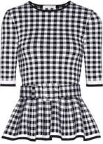 Oscar de la Renta Gingham Wool-blend Peplum Top - Black