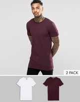 Asos 2 Pack Longline Muscle T-Shirt In White/Oxblood