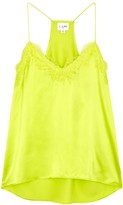 CAMI NYC The Racer lime lace-trimmed silk top
