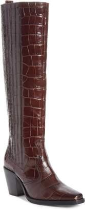 Ganni Croc Embossed Leather Knee High Western Boot