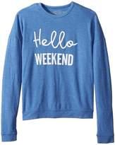 The Original Retro Brand Kids Girls Super Soft Haaci Pullover Hello Weekend Girl's Sweater
