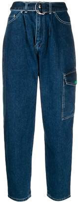 Benetton carrot fit belted jeans