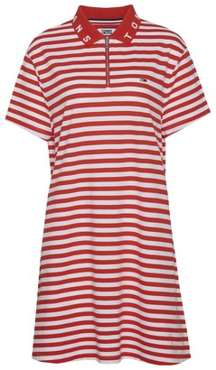 Tommy Jeans Cotton Essential Stripe Polo Dress with Zip Front