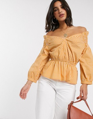 Y.A.S off shoulder blouse with smock detail in yellow check