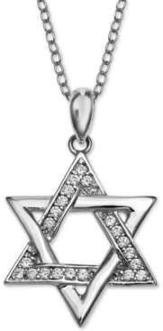 "Giani Bernini Cubic Zirconia Star of David 18"" Pendant Necklace, Created for Macy's"
