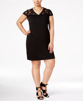 NY Collection Plus Size Lace-Sleeve Sheath Dress