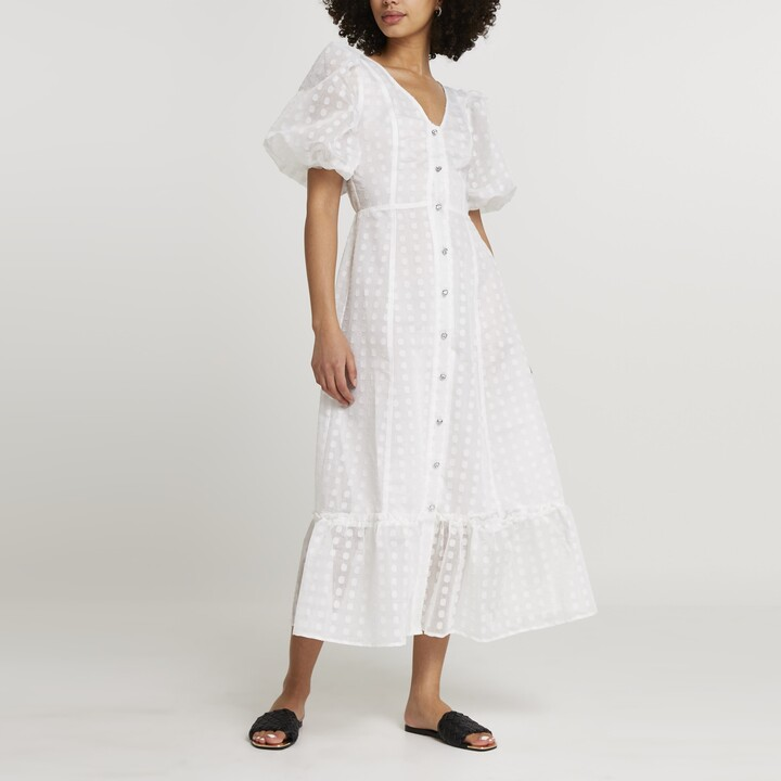 Thumbnail for your product : River Island Womens White spot mesh puff sleeve midi dress