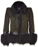 Roberto Cavalli Olive/Black Combo Fur Jacket