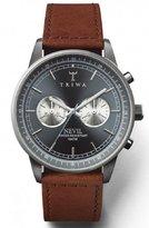 Triwa Ash Nevil Men's Gunmetal Chronograph Watch Sewn Brown Leather Strap NEST110 SC010212