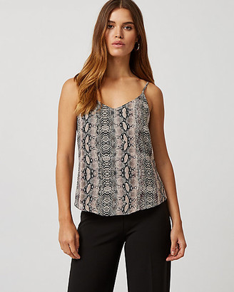 Le Château Layered Snake Print Chiffon Scoop Neck Camisole