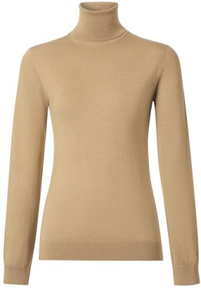 Burberry Two-tone Merino Wool Silk Roll-neck Sweater