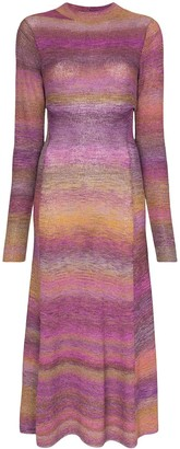 Tibi Space Dye-Print Midi Dress