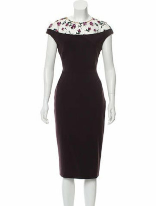 Lela Rose Tulle-Accented Fitted Dress Brown