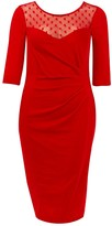 Evans **Scarlett & Jo Red Mesh Polka Dot Bodycon Dress