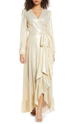 WAYF Meryl Long Sleeve Wrap High/Low Gown