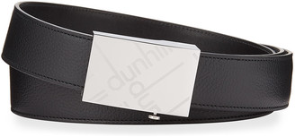 Dunhill Men's Grained Leather Logo-Buckle Belt