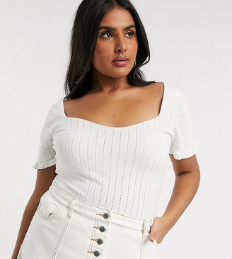 Lost Ink Plus top with frill hem in rib knit