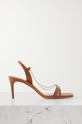 Porte & Paire - Chain-embellished Leather Slingback Sandals - Tan