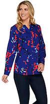 Denim & Co. Floral Print Y-Neck Button FrontWoven Shirt