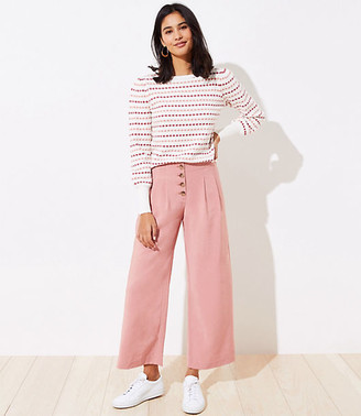 LOFT Petite Button Front Lightweight Fluid Pants