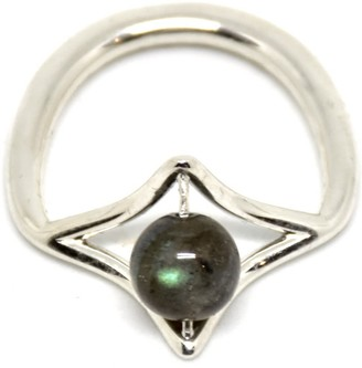 Plaitly Petal Silver Ring With Labradorite Stone