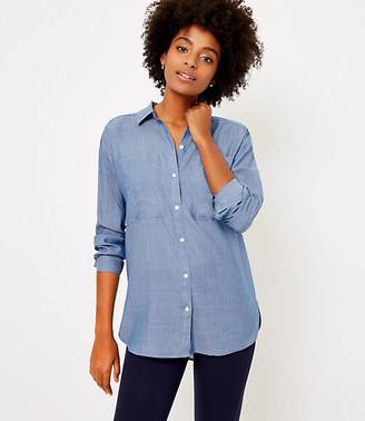 LOFT Petite Chambray Tunic Shirt