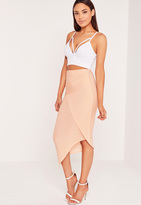 Missguided Slinky Ruched Side Midi Skirt Nude