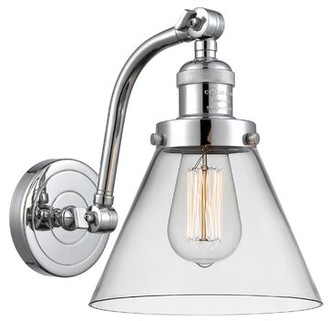 clear Bonomo Large 1-Light Dimmable Armed Sconce Williston Forge Finish: Satin Gold, Shade Color: Clear, Bulb Type: 3.5 Watt Vintage LED Bulb