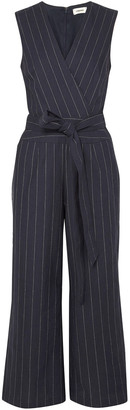 L'Agence Joslyn Pinstriped Linen And Cotton-blend Canvas Jumpsuit
