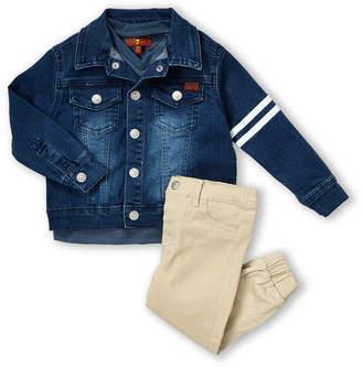 7 For All Mankind Infant Boys) 3-Piece Denim Jacket & Khaki Joggers Set