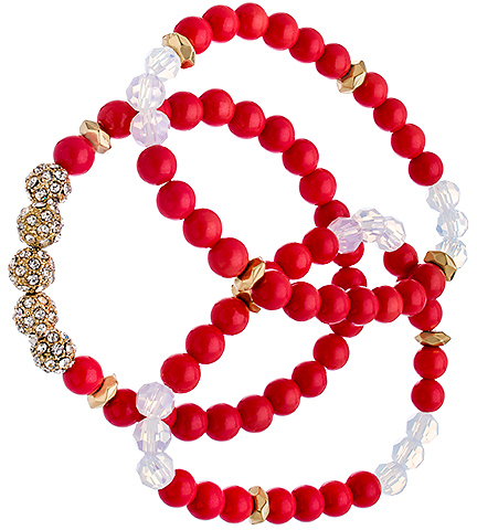 Blu Bijoux Set of Three Gold Crystal and Coral Beaded Bracelets