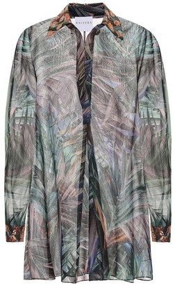 Halpern Printed georgette lame shirt dress