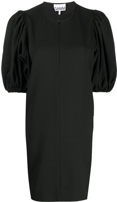 Ganni Puff-Sleeve Shift Dress