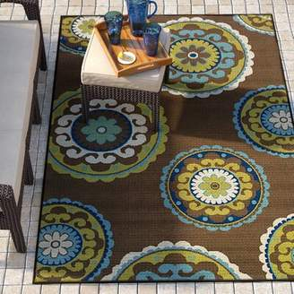 "Andover Mills Brendel Floral Brown / Green Indoor / Outdoor Area Rug Rug Size: Rectangle 7'10"" x 10'10"""