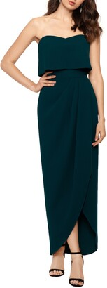 Xscape Evenings Strapless Popover Scuba Crepe Gown