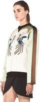 Proenza Schouler Quilted Bird Silk Sweatshirt in Bone