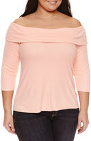 BELLE + SKY 3/4 Sleeve Boat Neck T-Shirt-Plus