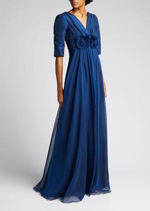 Rickie Freeman For Teri Jon Taffeta Rosette Empire-Waist Chiffon Gown