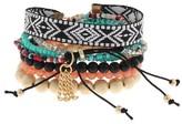 Women's Bracelet Set with Mixed Beaded Bracelets and Aztec Print Trim-Multicolored