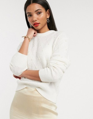 And other stories & pearl embellished round neck jumper in off white