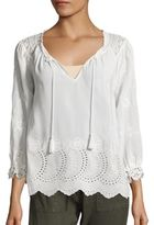 Joie Rufina Embroidered Silk Eyelet Blouse
