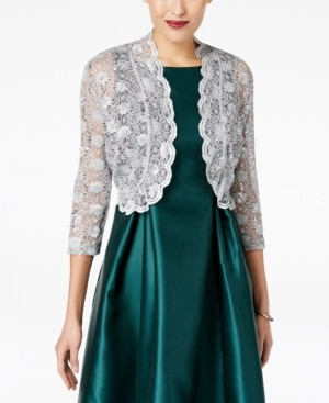 R & M Richards Scalloped Sequin Lace Bolero