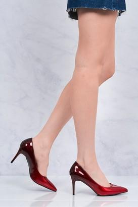 Miss Diva Alani 2 tone medium heel court shoe in Red