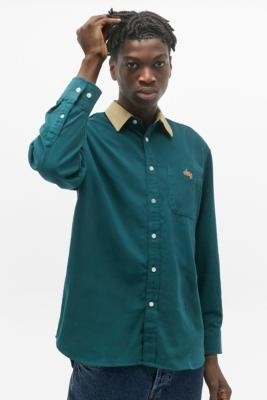 Obey Caleb Deep Teal Contrast Collar Shirt - blue S at Urban Outfitters