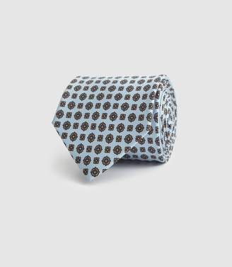 Reiss Sterling - Silk Medallion Tie in Soft Blue