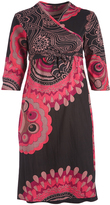 Aller Simplement Black & Rose Geometric Surplice Midi Dress - Plus Too