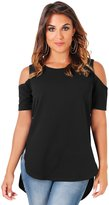 KRISP Women's Cold Shoulder Top (9296-BLK-S)