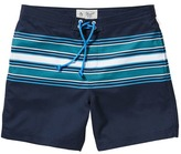 Original Penguin Faux Chambray Engineered Stripe Volley Swim Trunk