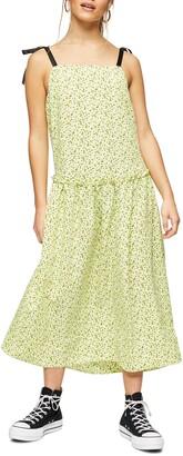 Topshop Floral Print Drop Waist Midi Dress