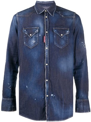 DSQUARED2 Distressed Details Denim Shirt